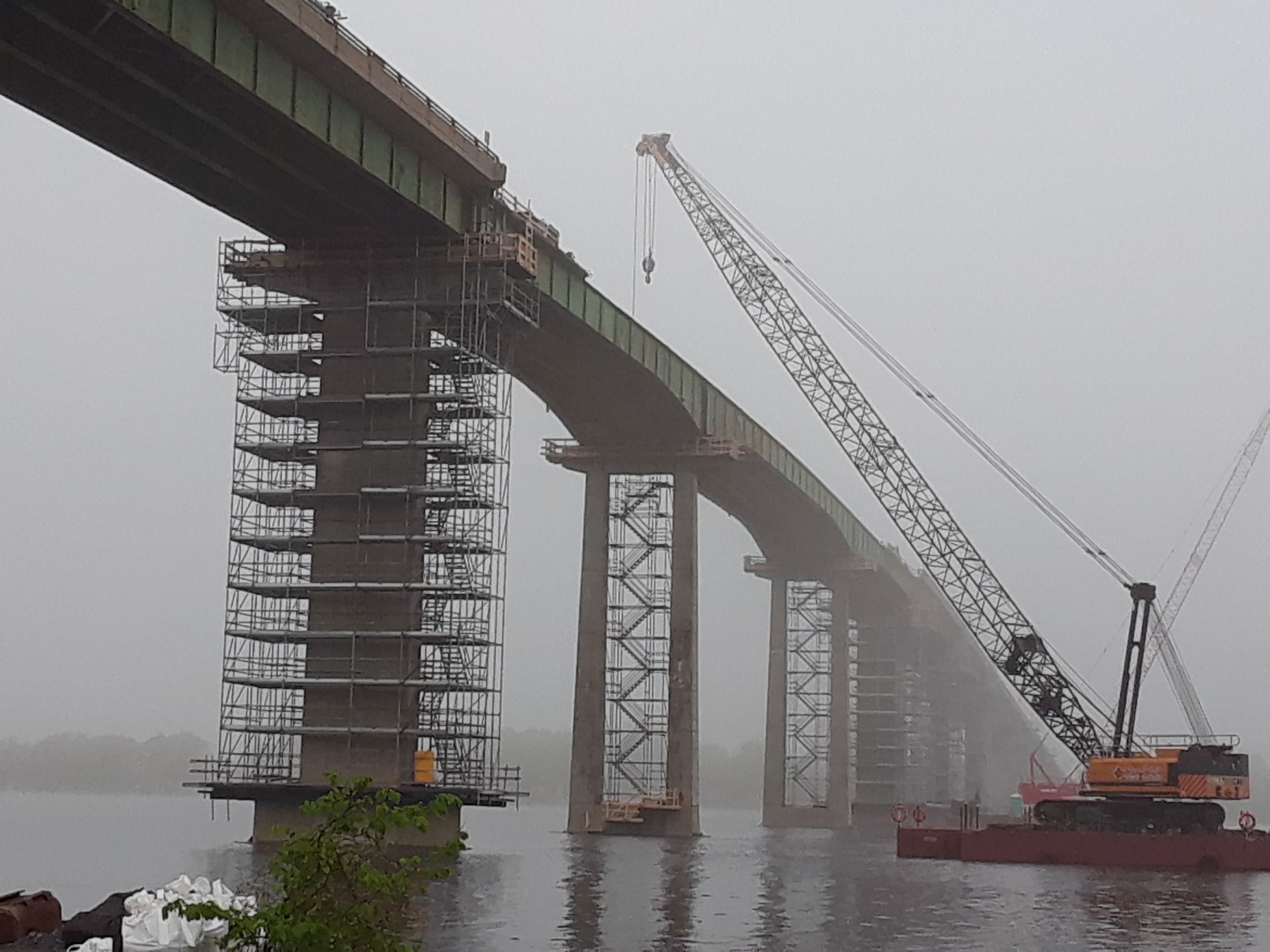 South side view of bridge construction