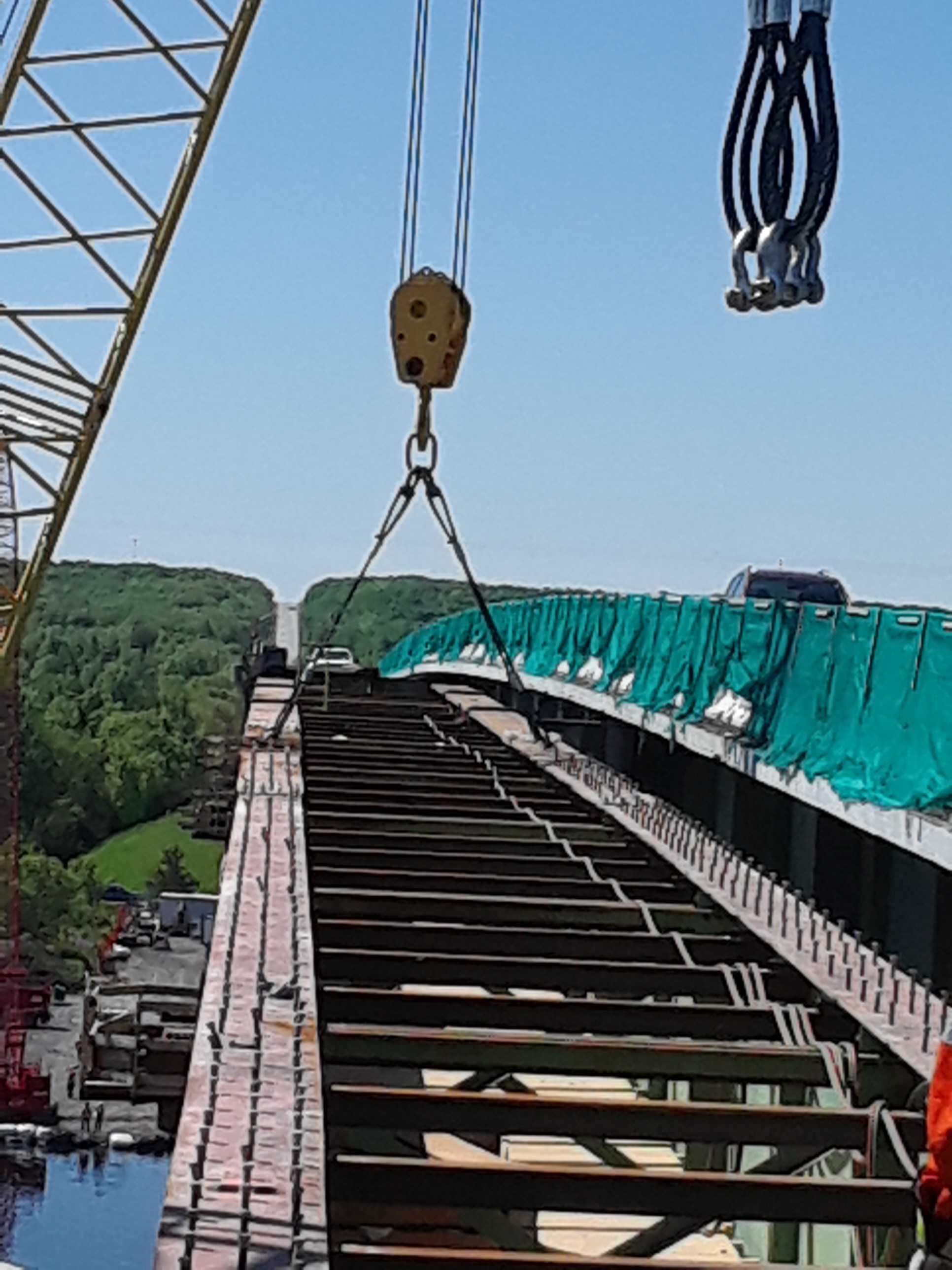 Cables connected for girder removal