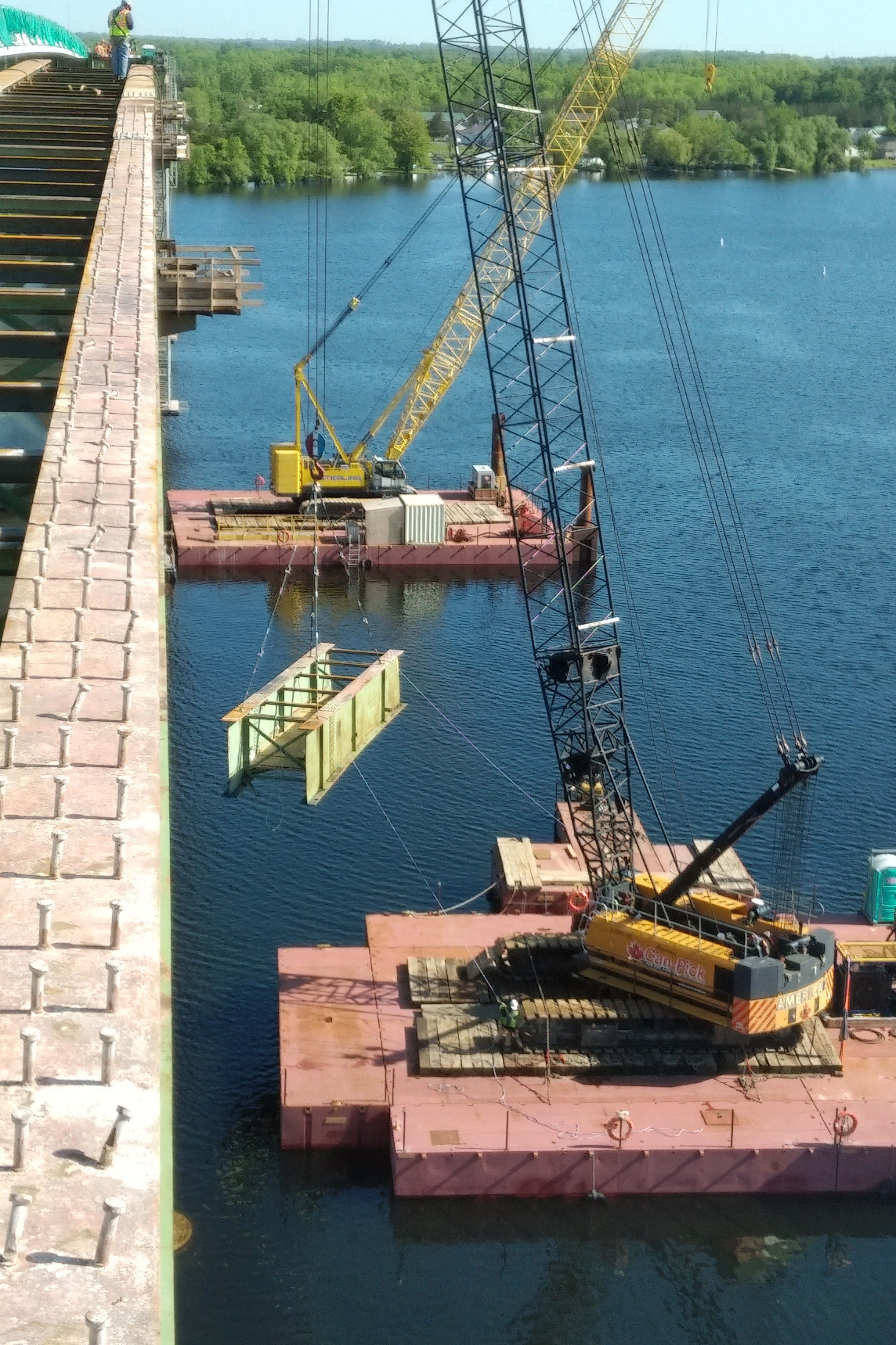 Girder being lowered to the barge