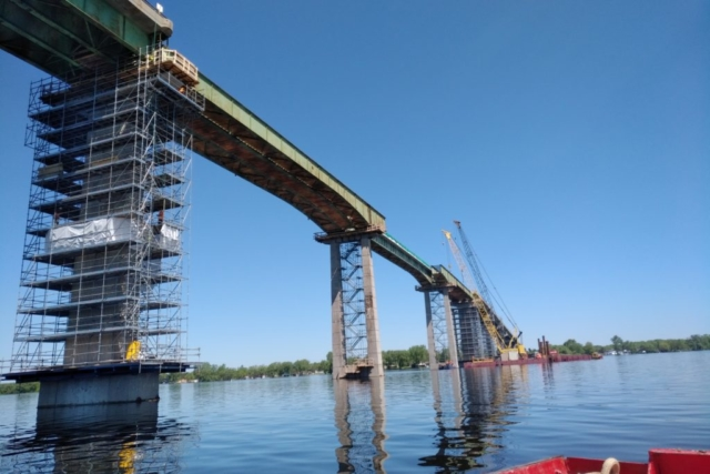First section of girder removed