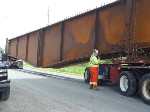 New girders being delivered to project site
