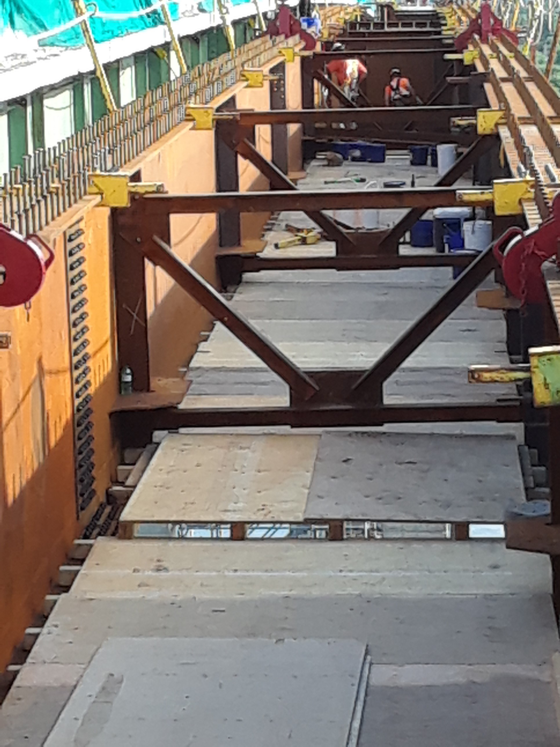 Girder in place - bracing attached