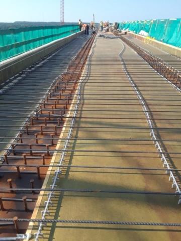 Reinforcing steel on bridge deck