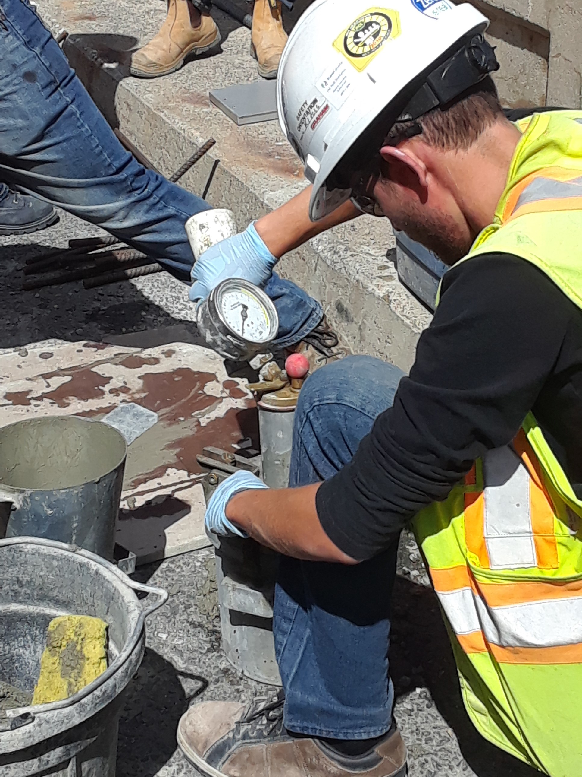 Testing prior to the concrete placement