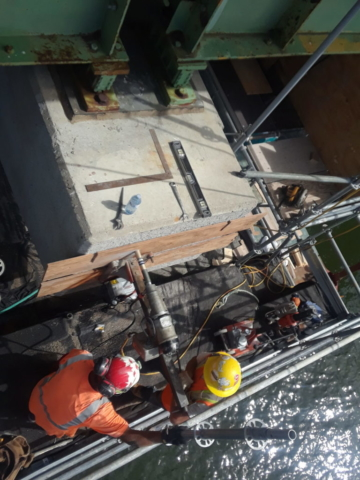 Core drilling on pier 5