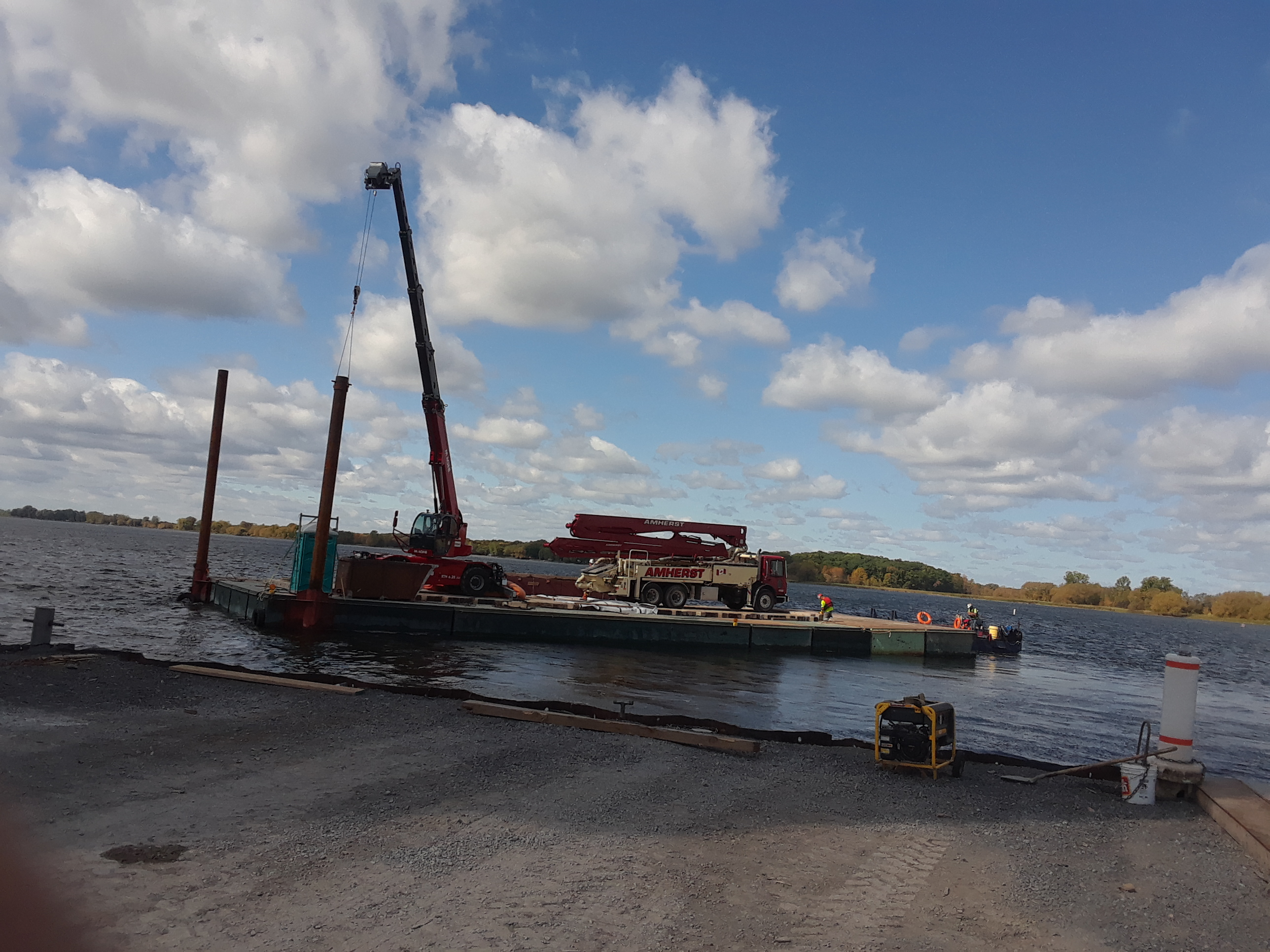 Concrete pump being moved to pier 6 for concrete placement