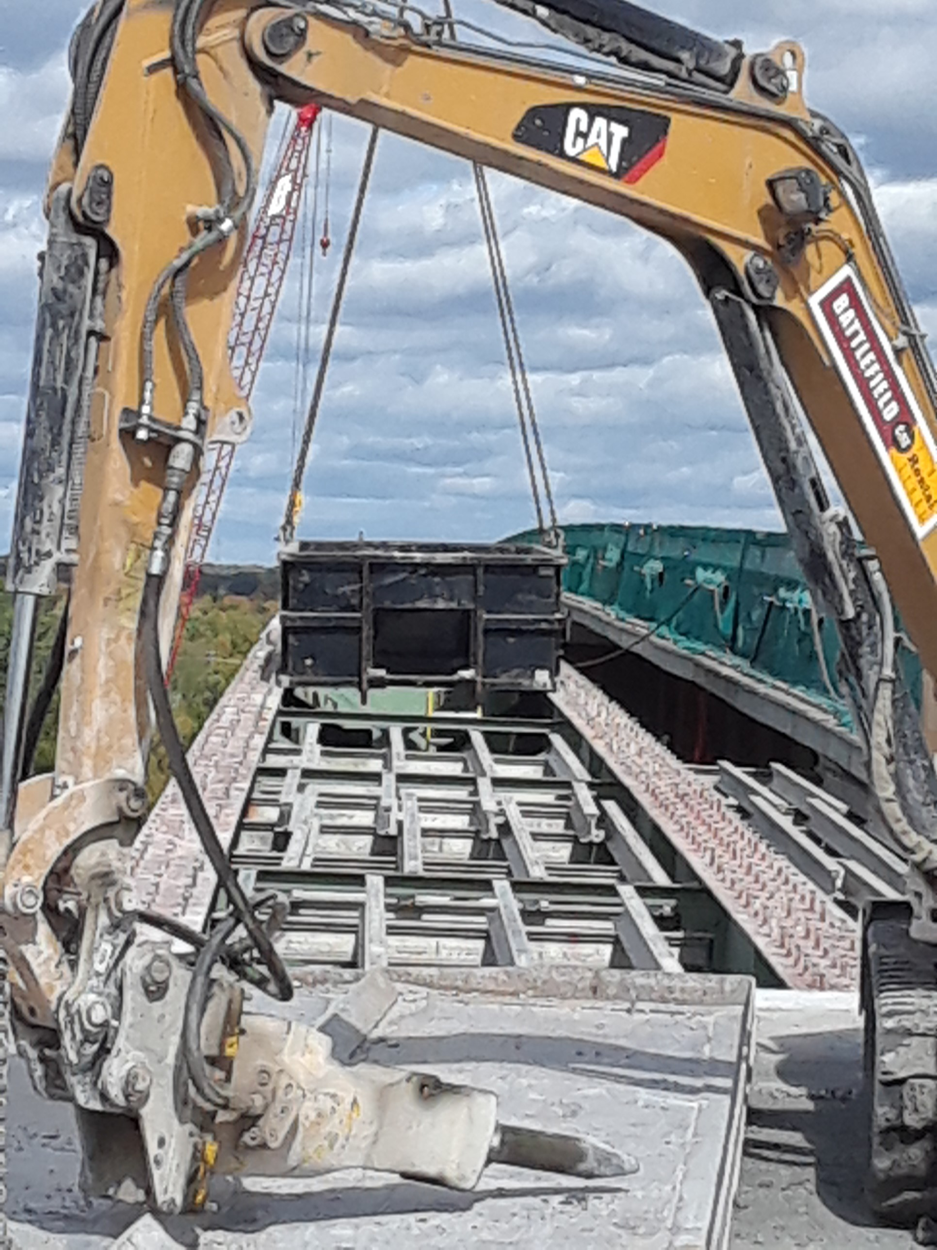 Hoe-ram and containment for deck and barrier wall removal