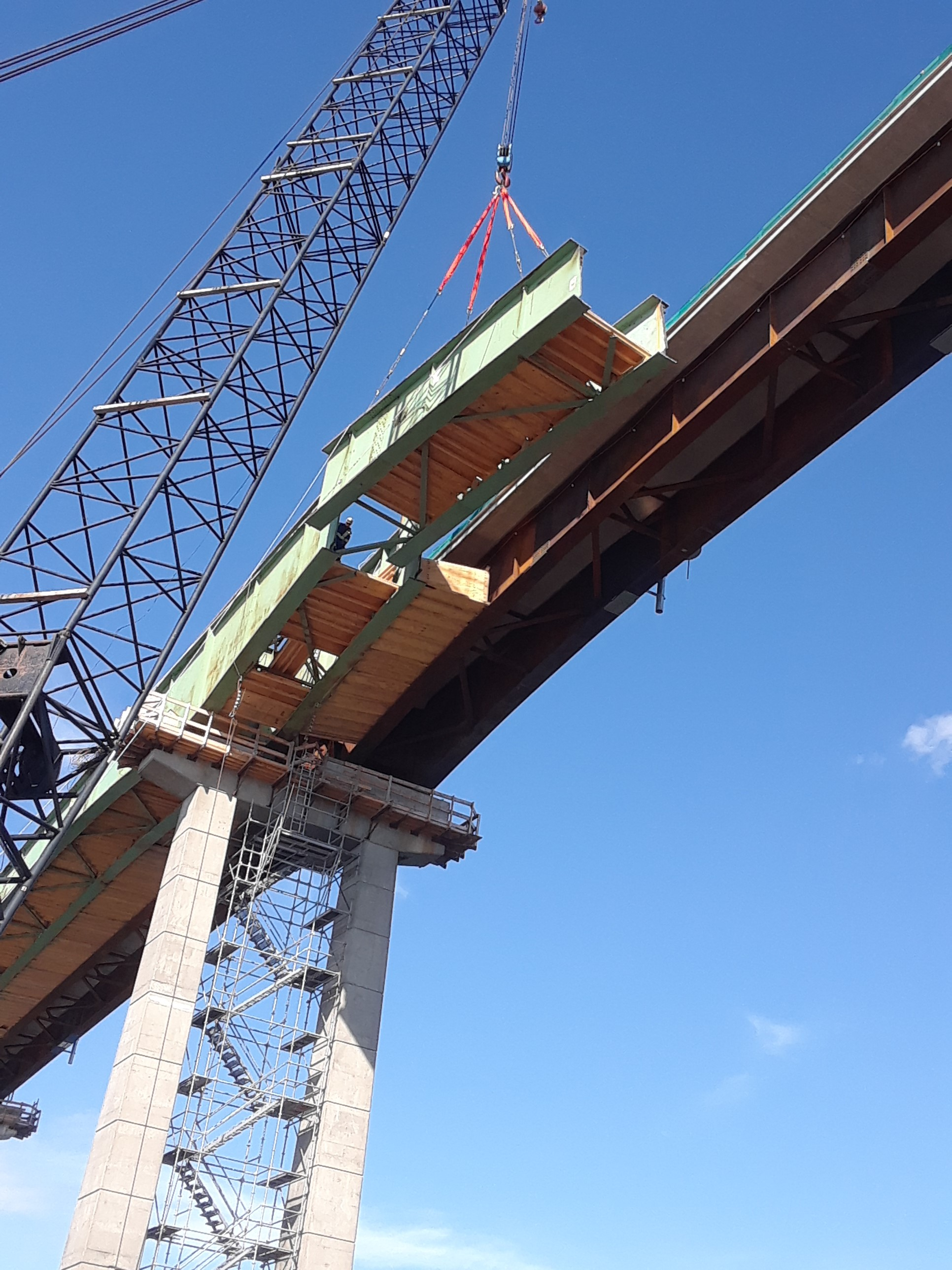 Second piece of girder being removed