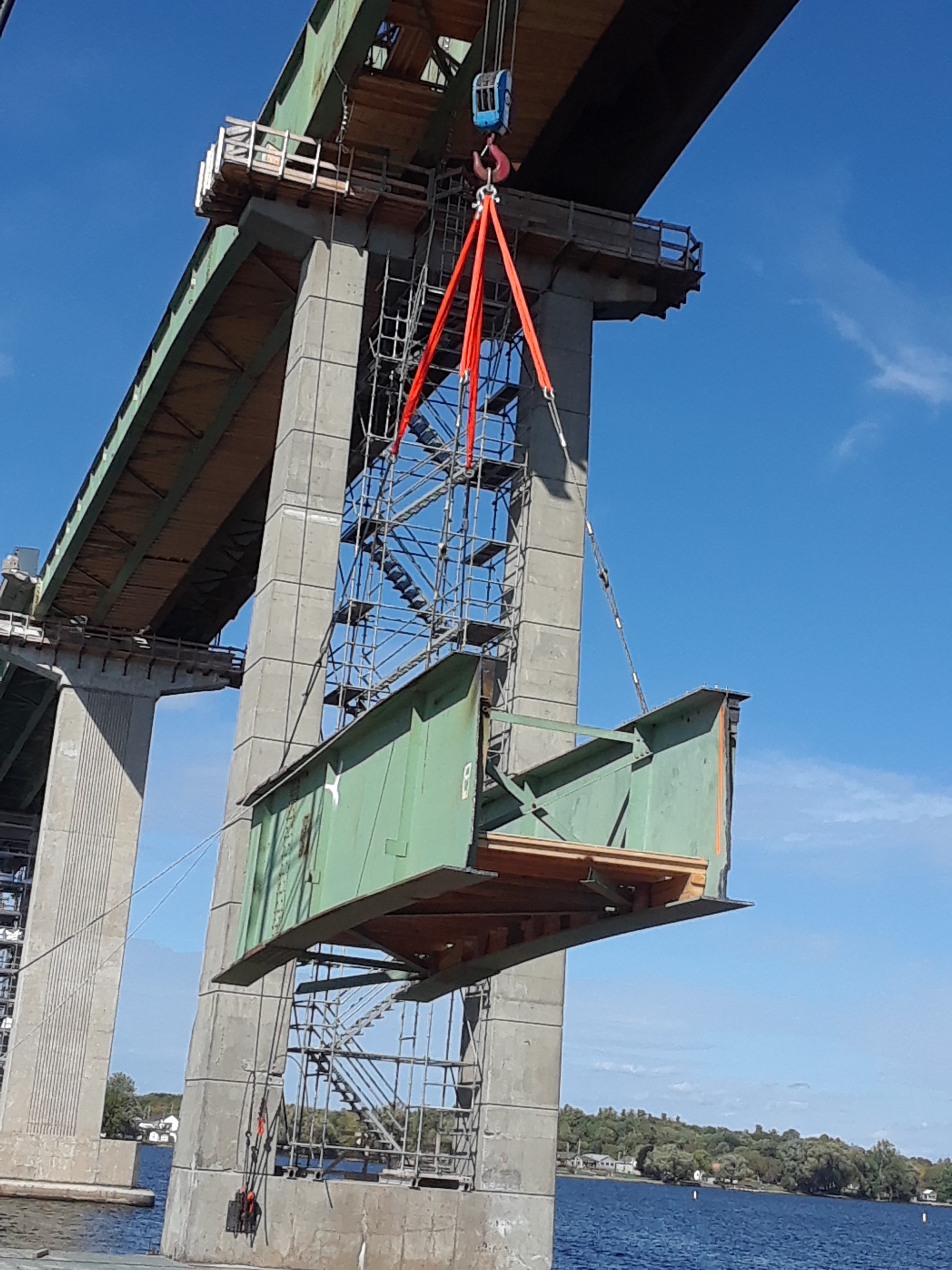 Second piece of girder being lowered