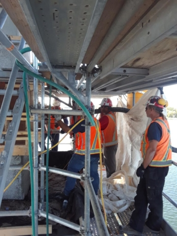 Concrete being pumped into forms on pier 7 - Inside view