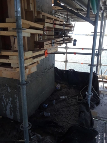 Form work ready for concrete placement on pier 7
