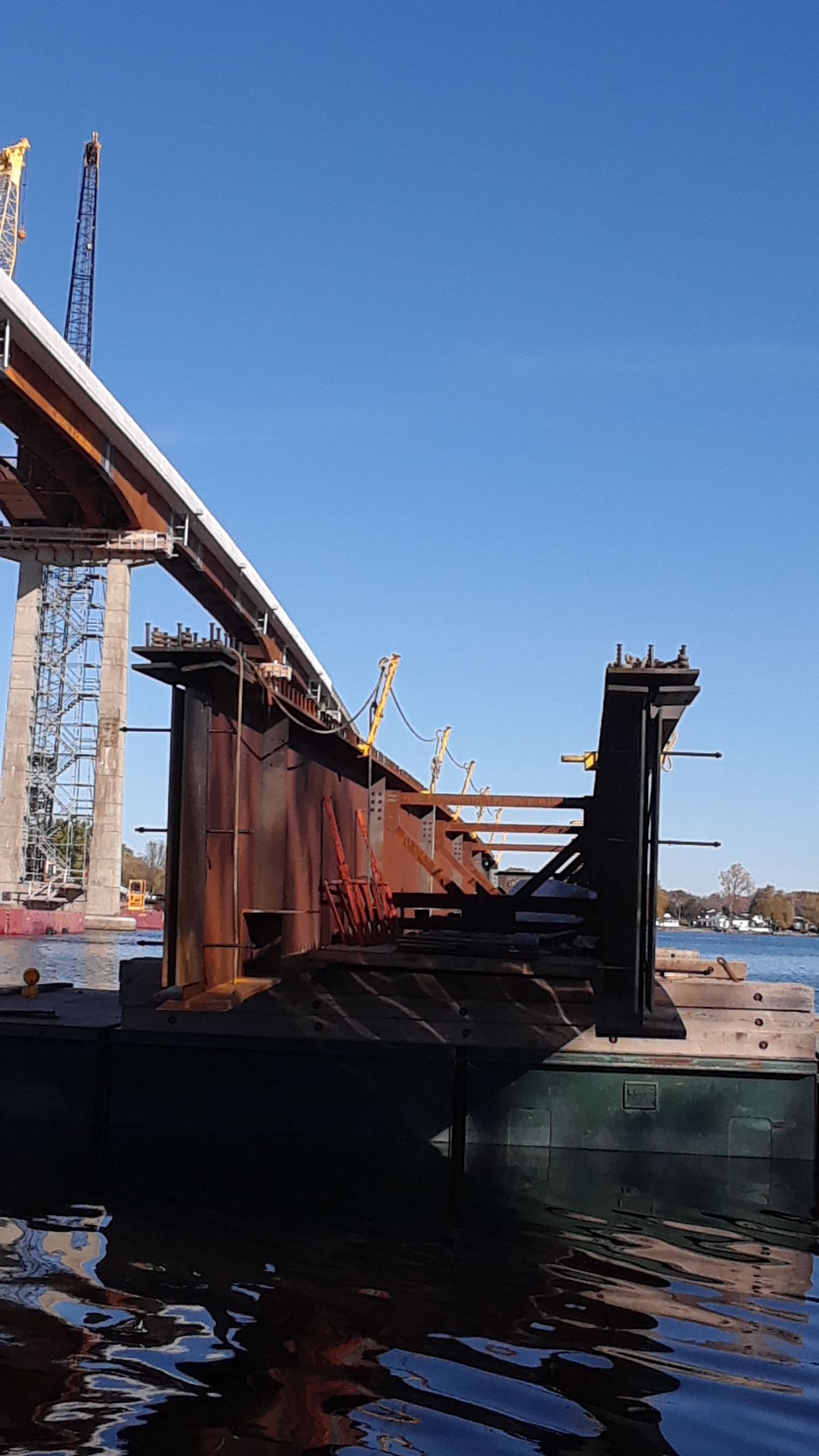 Second girder (the Approach) on the barge before being taken to the bridge for placement