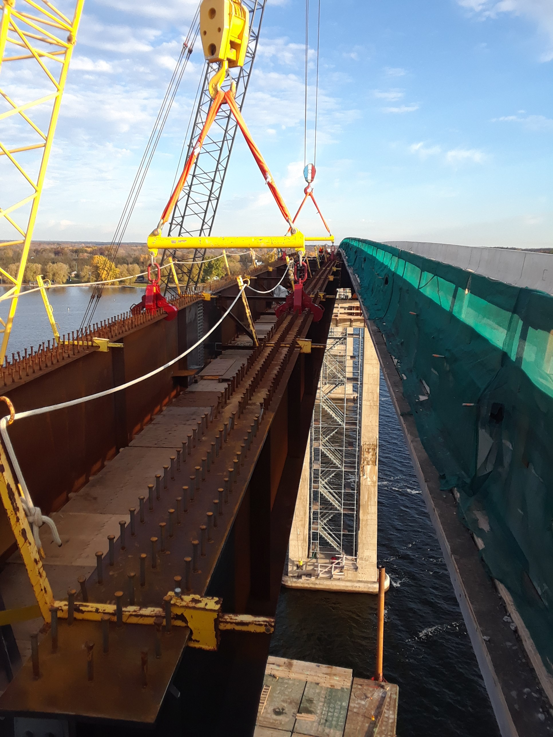 View between the bridge deck and the new girder being placed