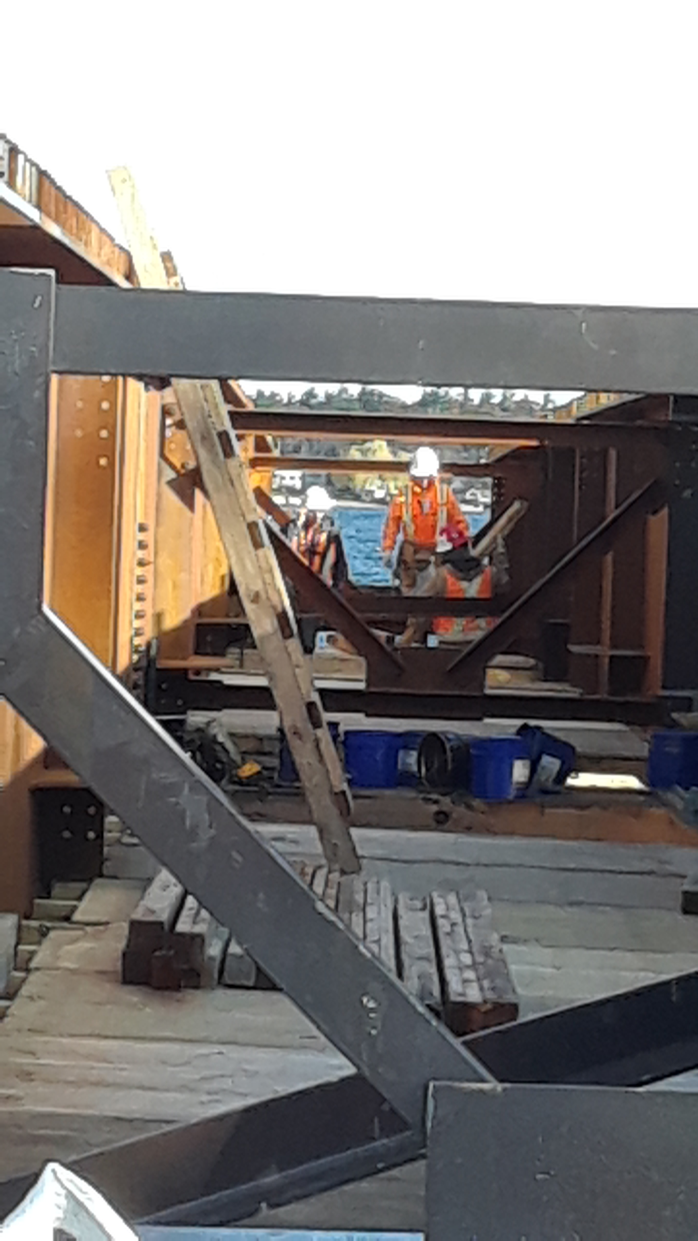 Installing the false decking in the second Approach girder