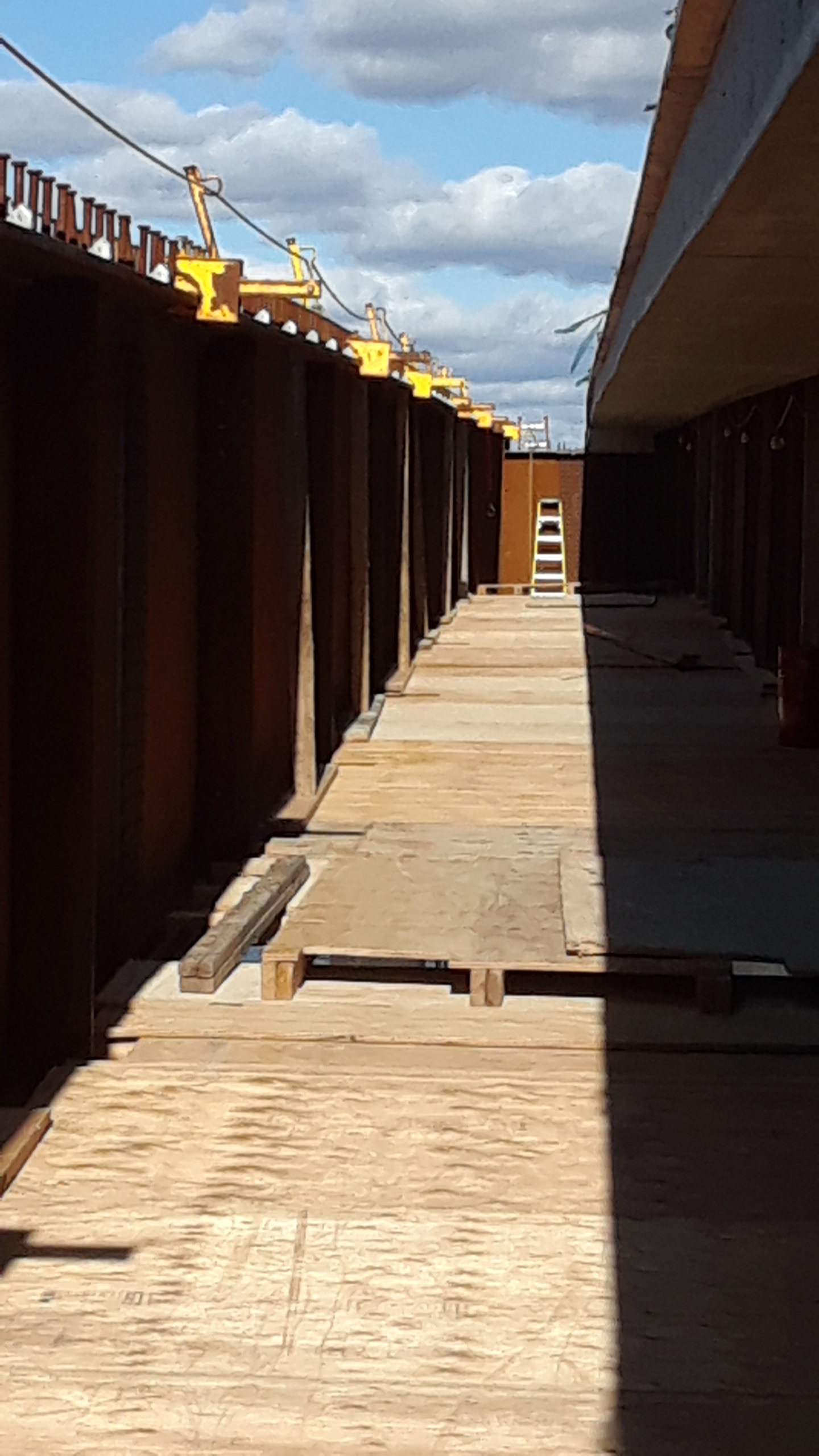 False decking for access between new girders