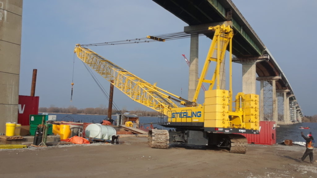 200 ton crane being removed from the barge for the winter