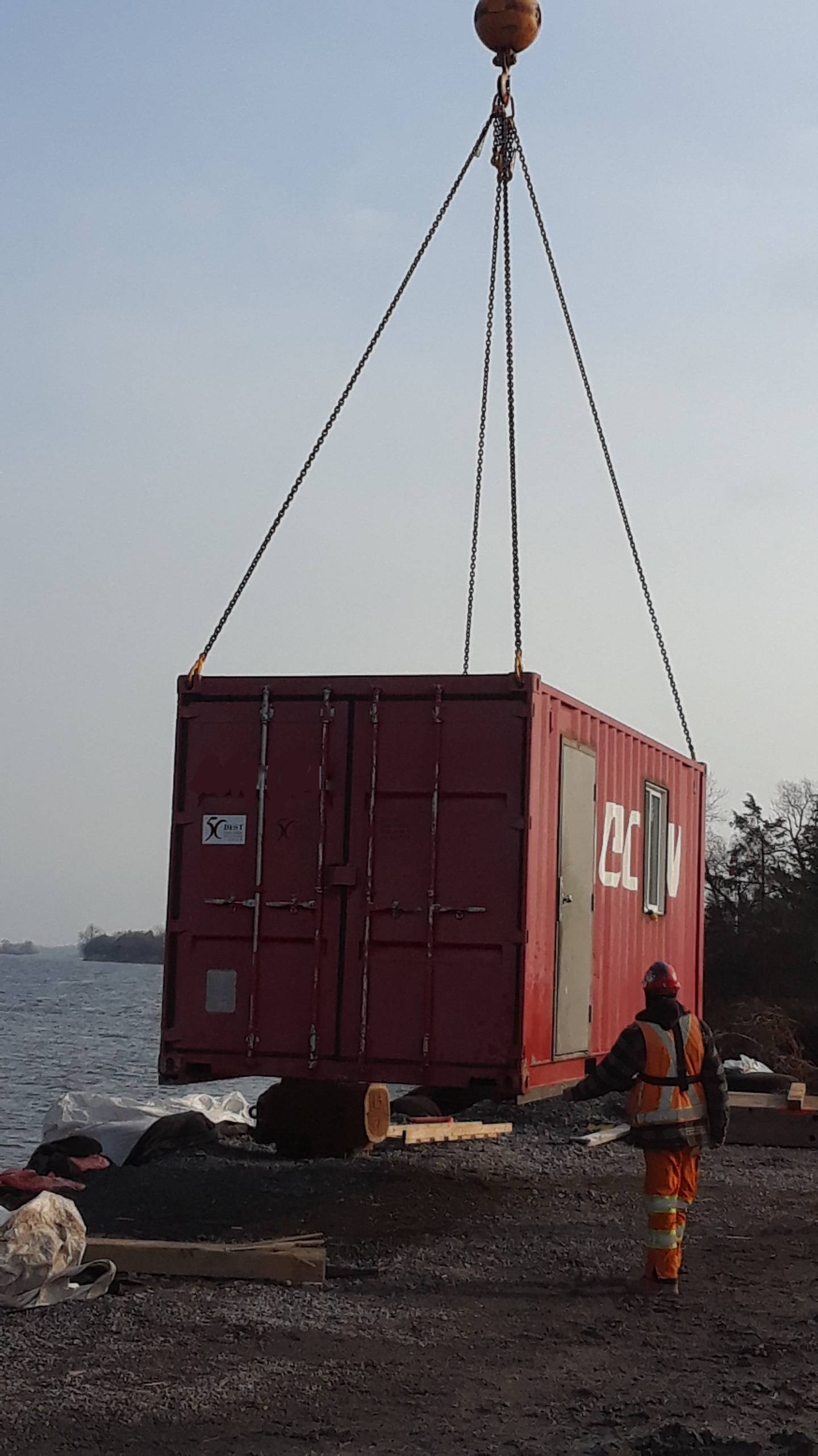 """C"" can container being removed from the dock"