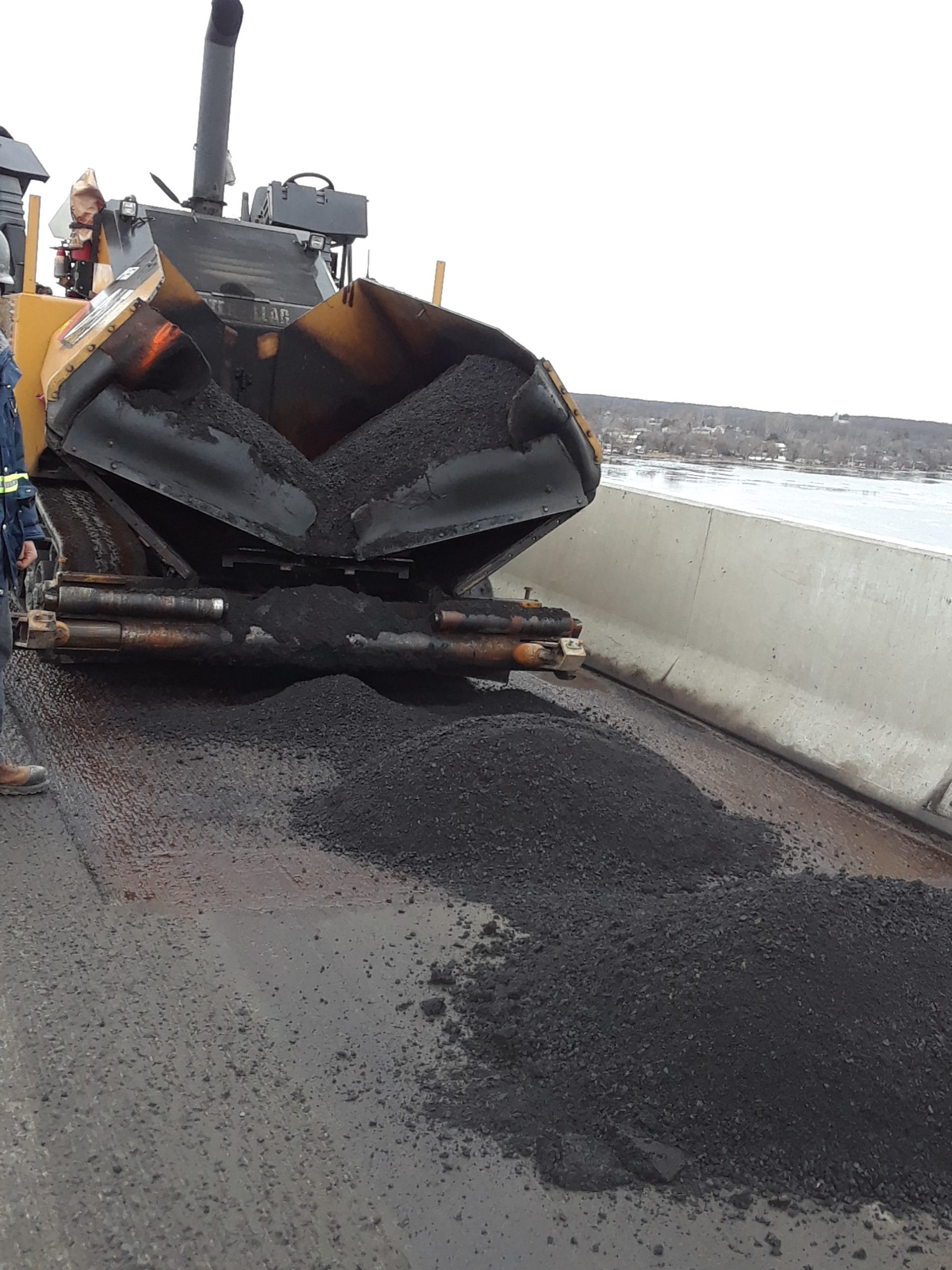 Asphalt being placed