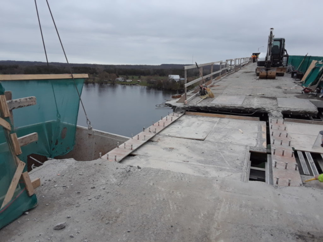 First section of the removed concrete deck
