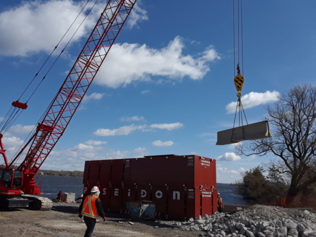 Placing TCB along the shoreline on the project site