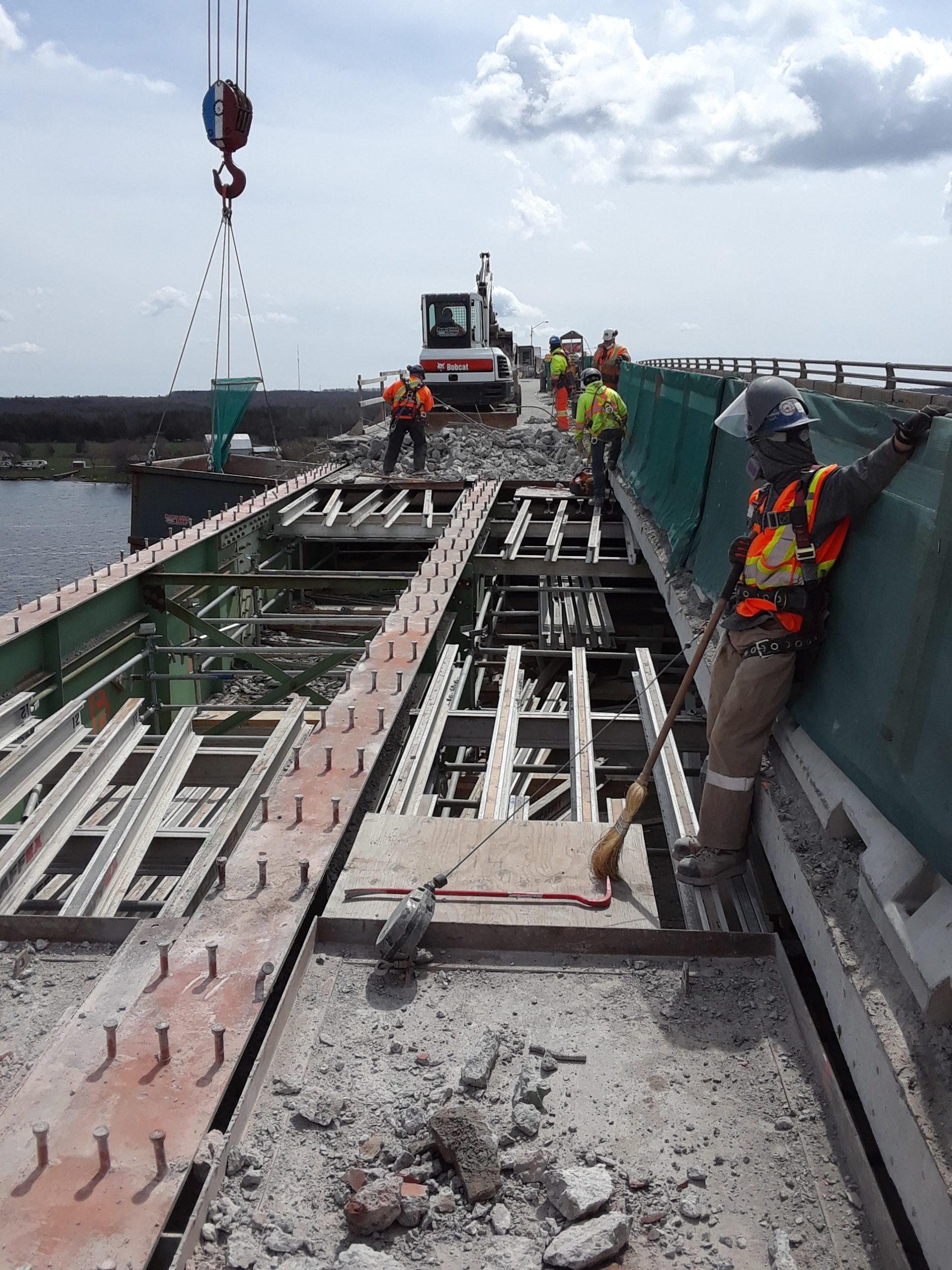Demolition of the concrete deck