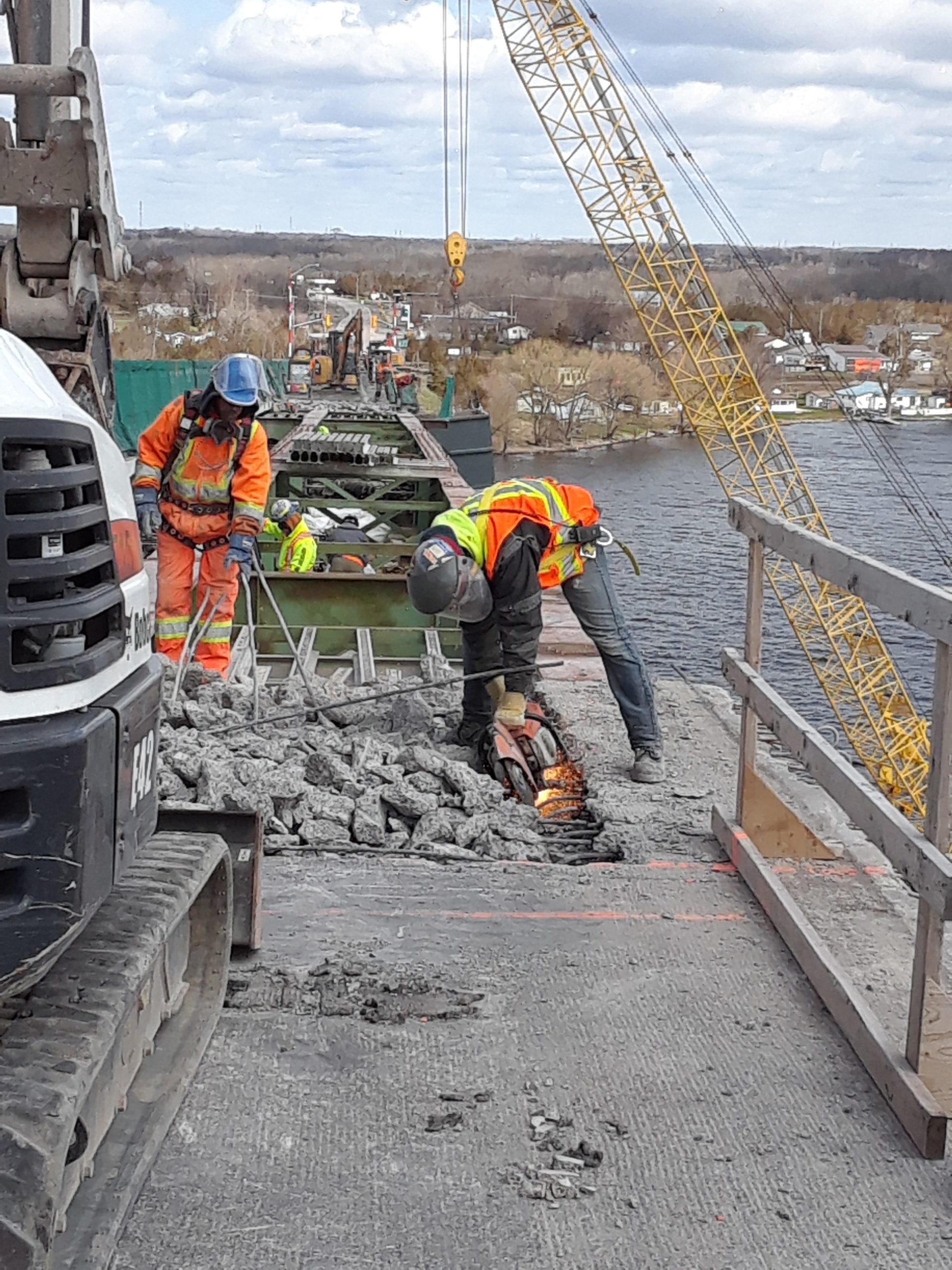 Cutting the rebar during deck demolition