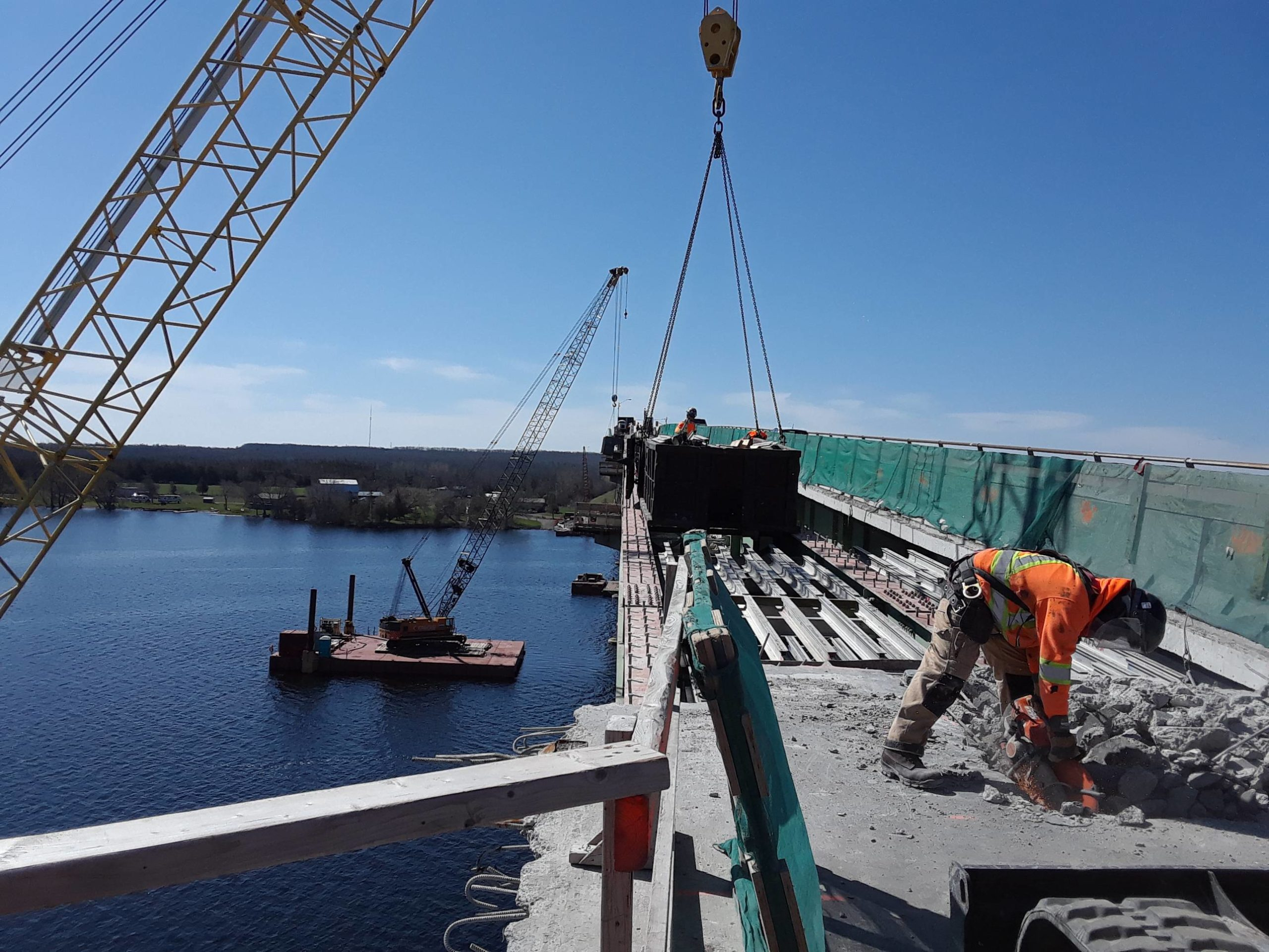 View from the north side of the deck removal and containment