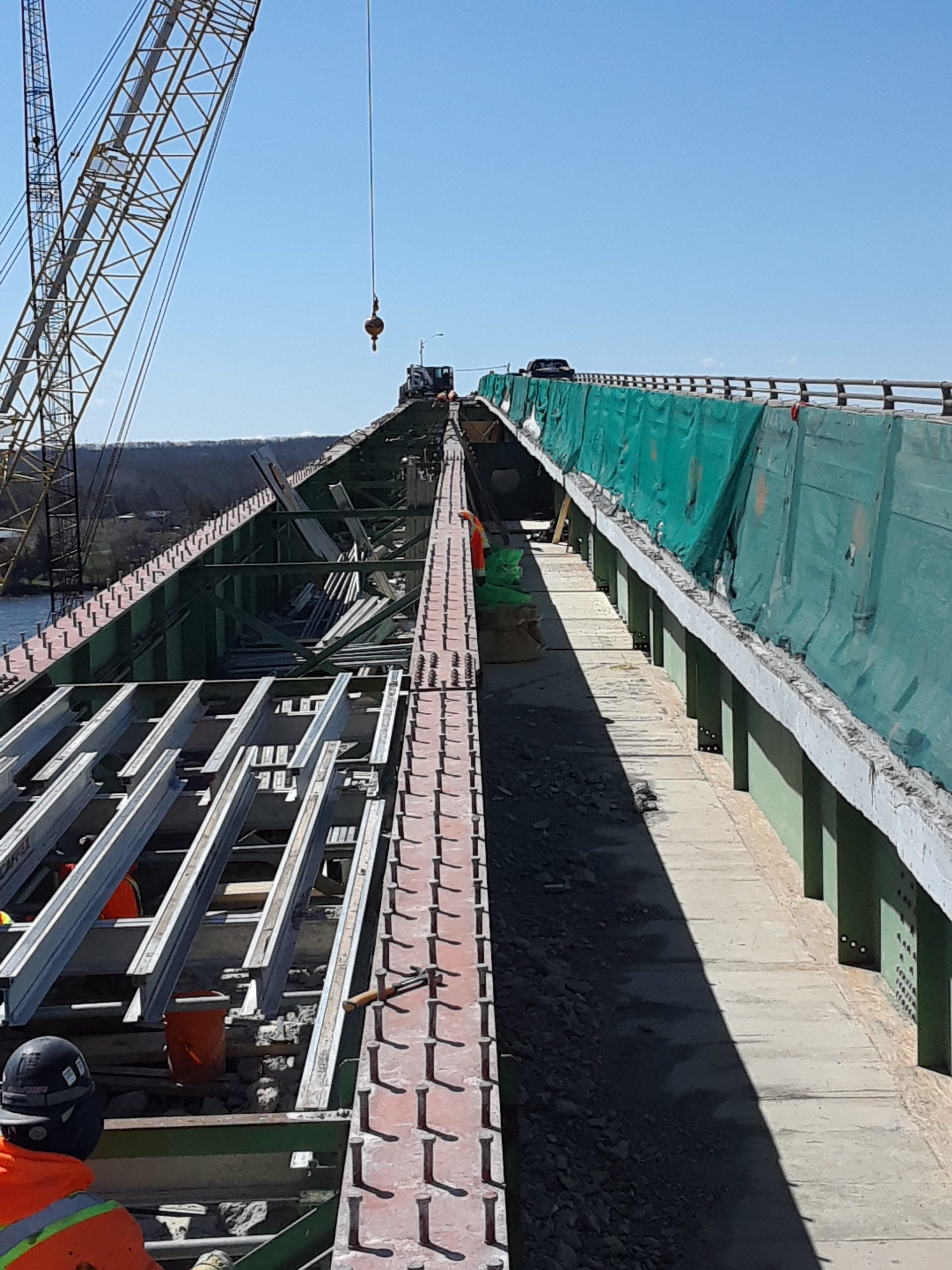 Exposed girders and false decking