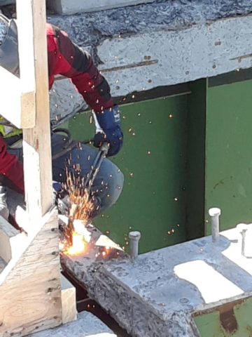 Girder section being cut for removal