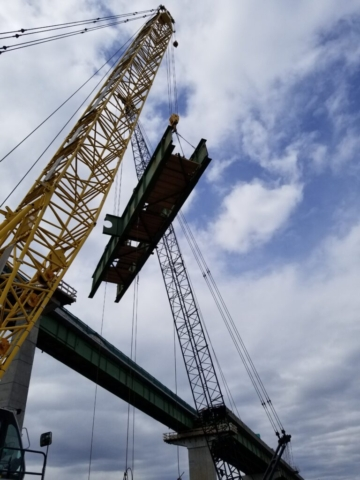 Final section of girder being lowered