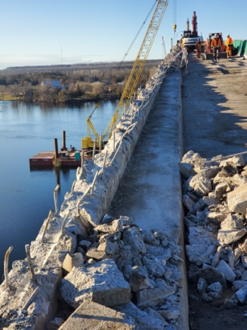 Partially removed barrier wall