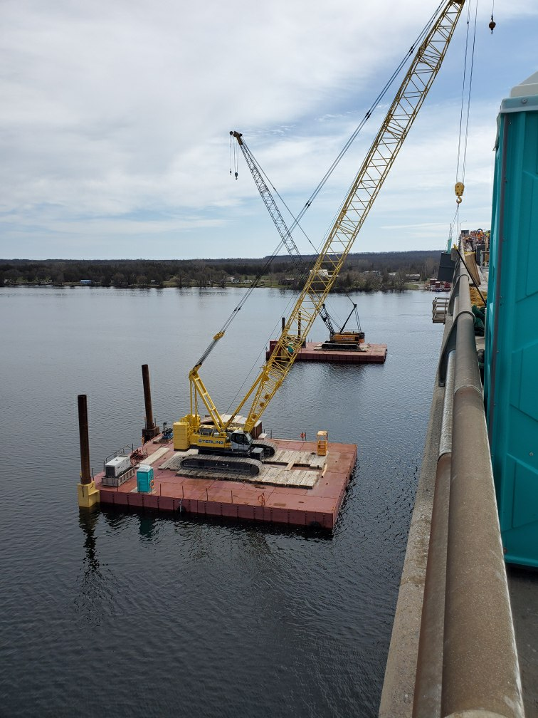 Both 200 ton cranes on the barges for deck removal