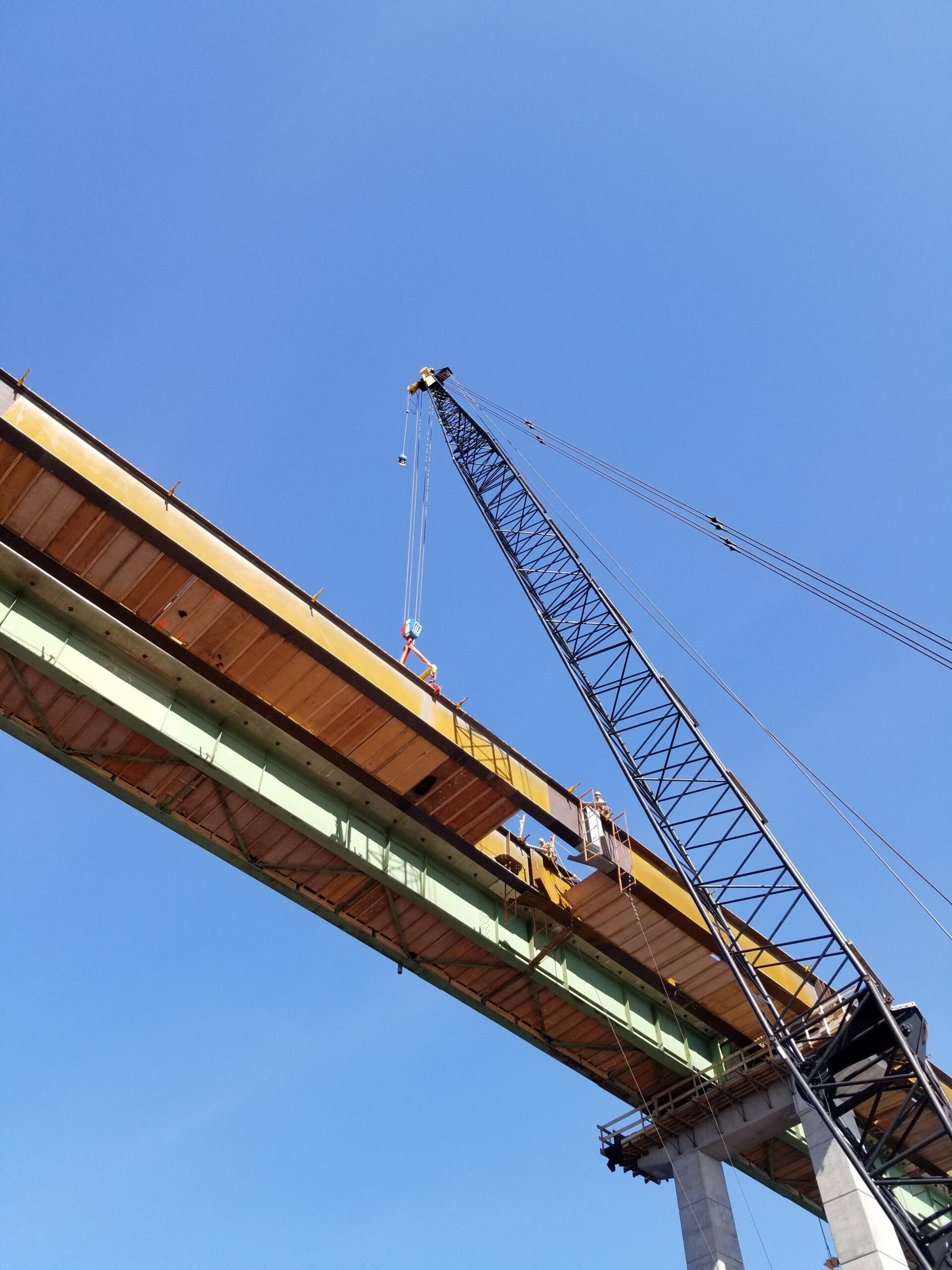 Preparing to attach the approach and haunch girders