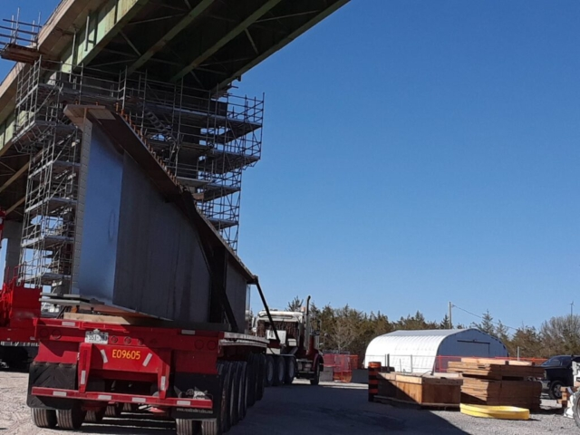 Arrival of girder sections for the second haunch section