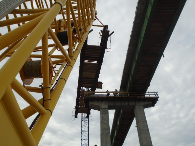 Second haunch girder being lowered into place