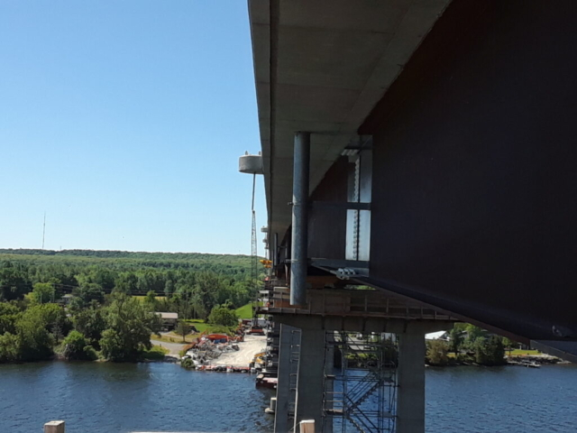 """View south of segment """"C"""" girders and the project site"""