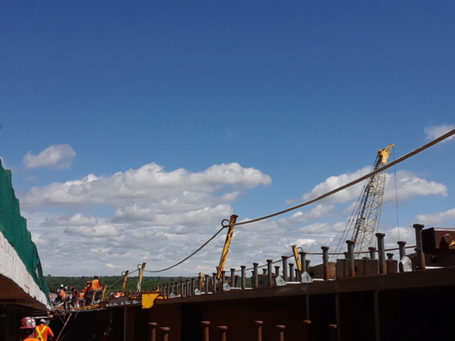 View from the false decking of work being done on the new girder section