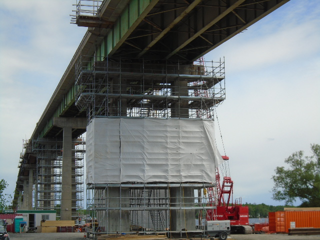 Pier 14 tarped for abrasive blast cleaning