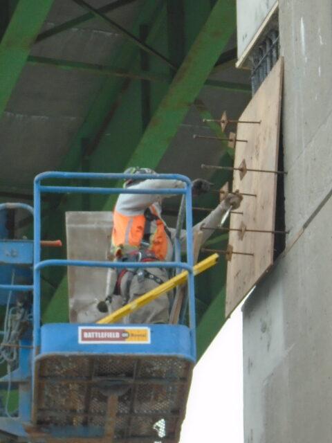 Form work being installed on pier 13