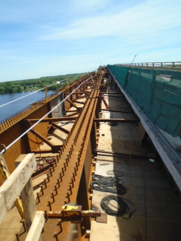 Top view from pier 5 of the girders and false decking