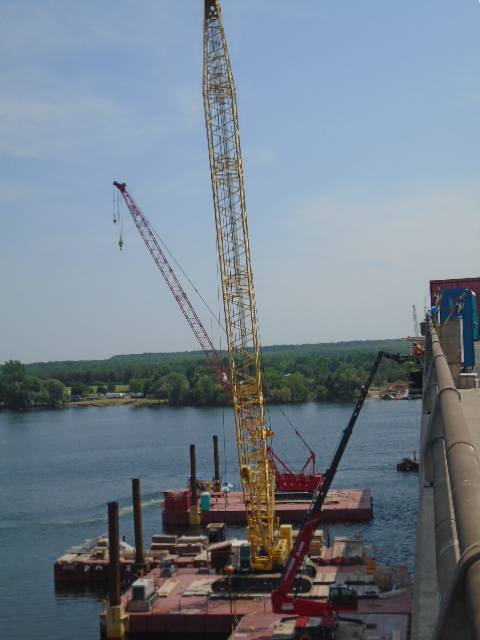 View south of the cranes and Magni lift being used for the bridge form-work
