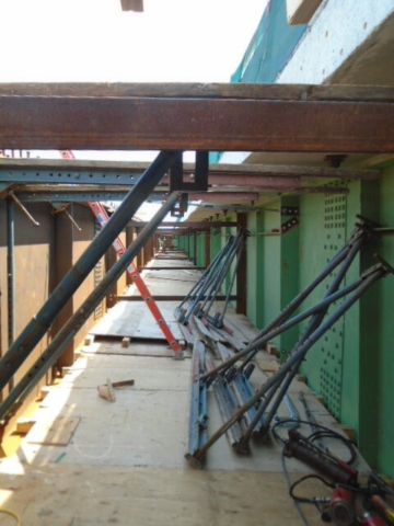 View of the false decking between the old and new girder sections