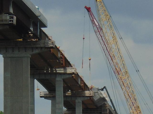 Close view of cranes and Magni lift at the bridge deck