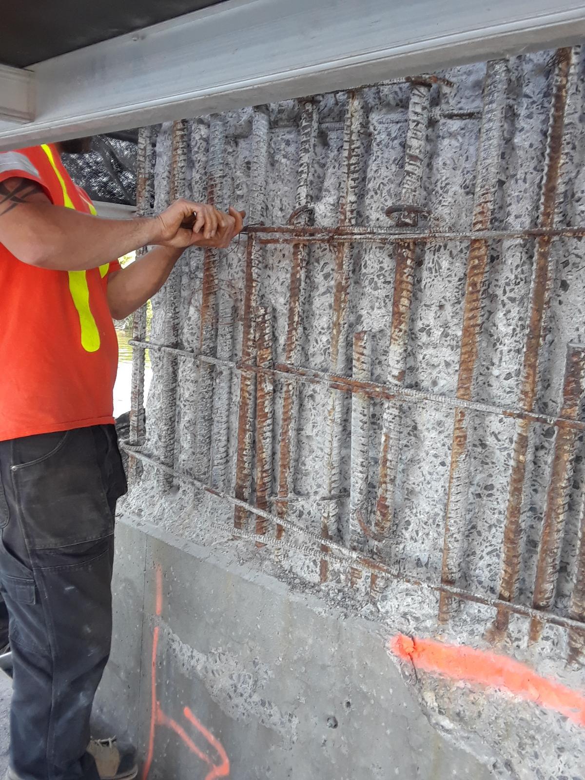 Rebar installation on pier 12
