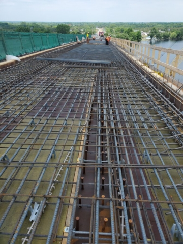 View north of rebar placement