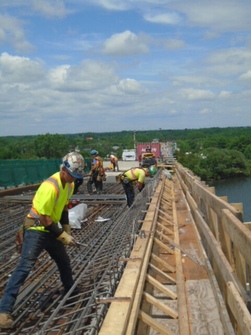 Installing the rebar for the barrier wall