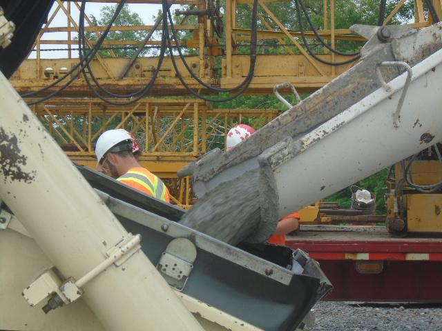 Concrete filling the pump truck