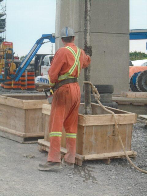 Concrete slurry being emptied