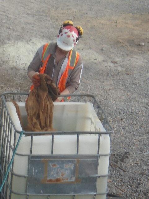 Preparing the burlap for concrete placement
