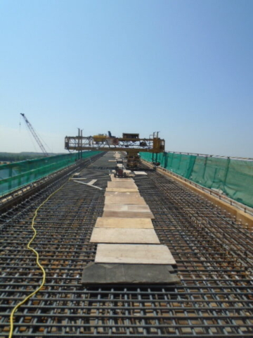 South view of the concrete finisher and rebar